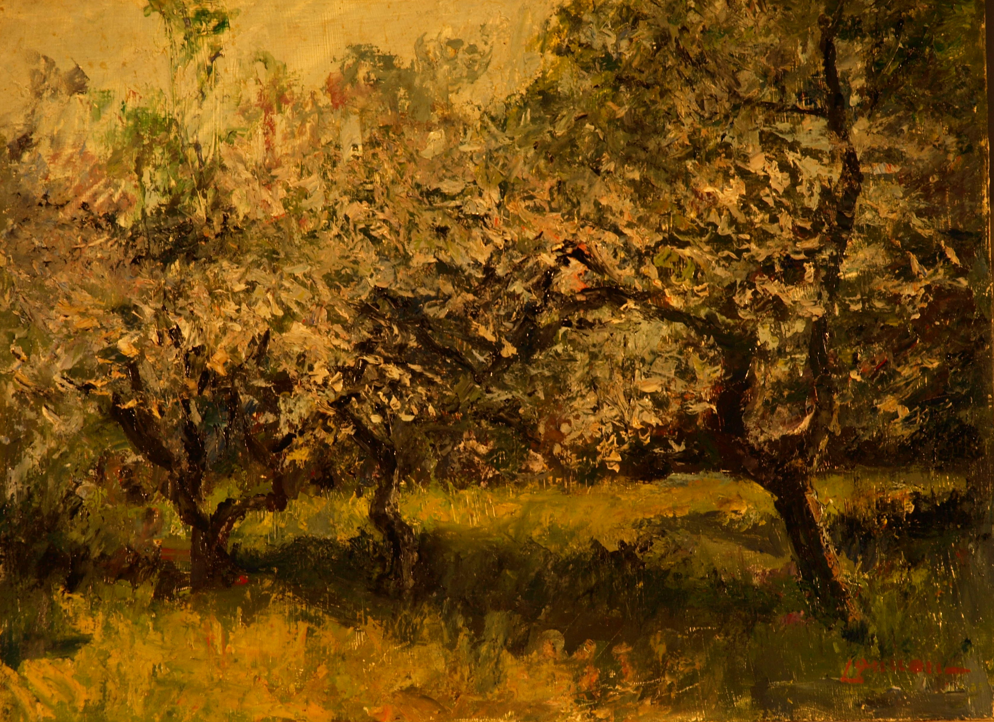 Apple Blossom Time, Oil on Panel, 12 x 16 Inches, by Bernard Lennon, $400