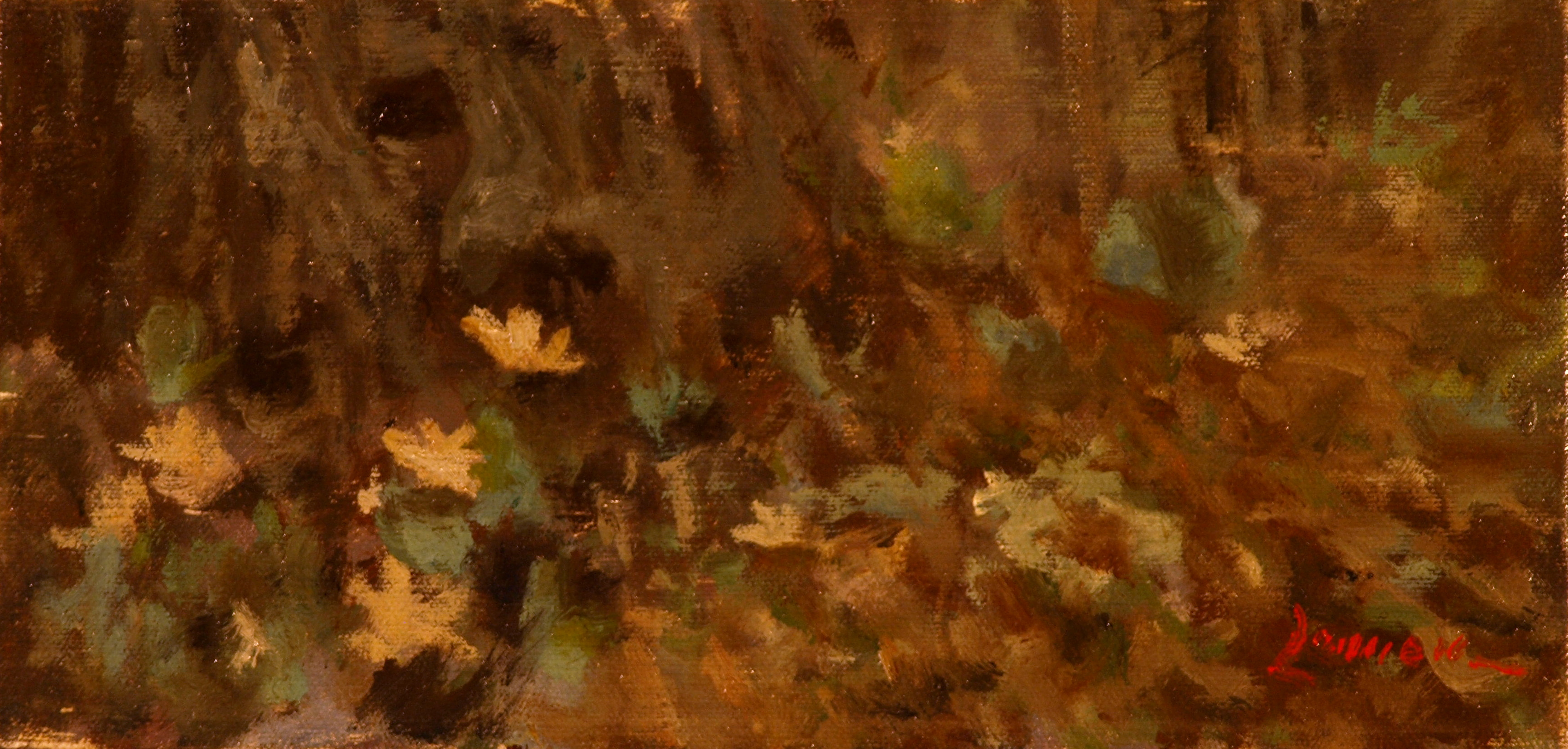 Bloodroot, Oil on Panel, 6 x 12 Inches, by Bernard Lennon, $400