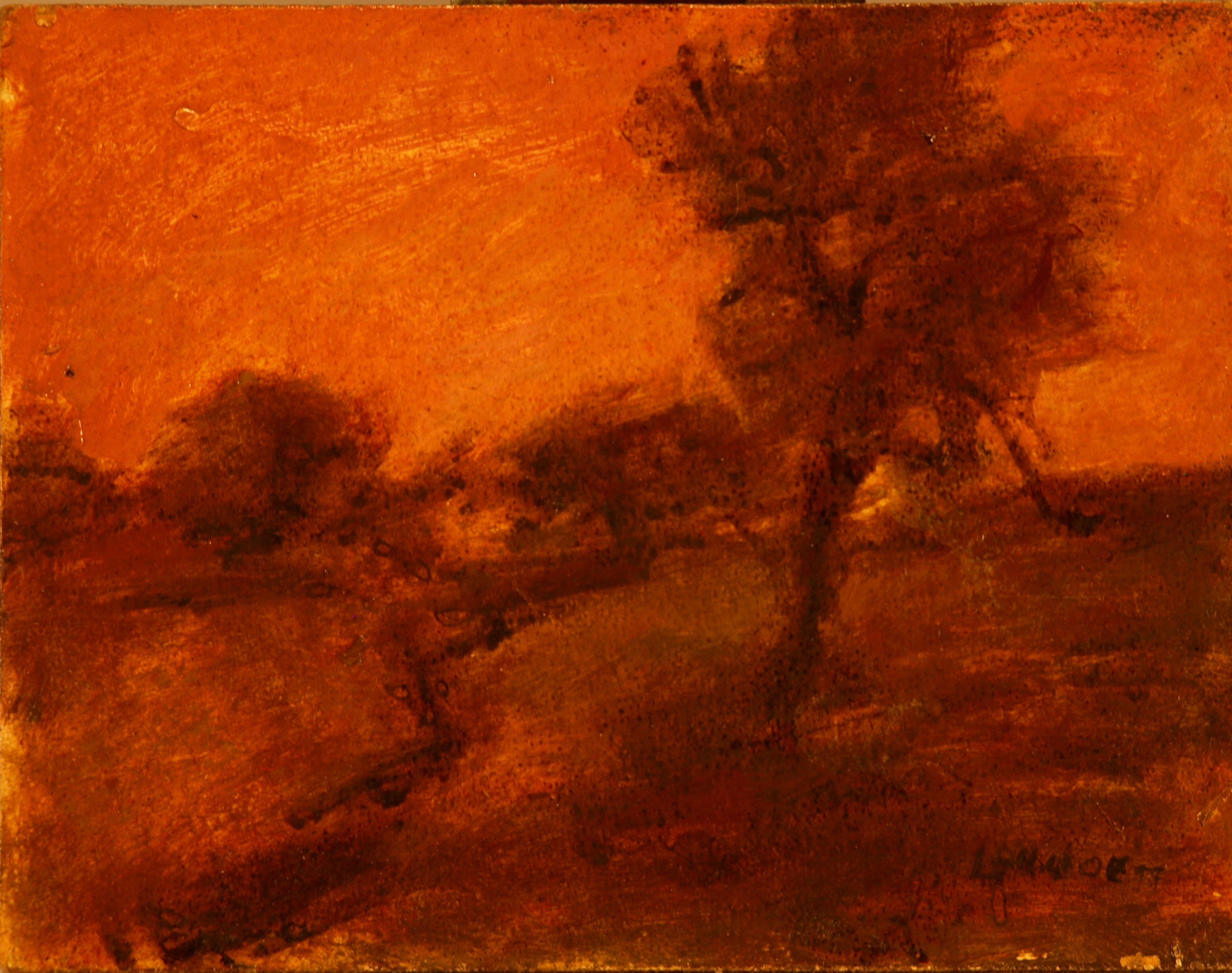 Glowing Atmosphere, Oil on Panel, 6 x 8 Inches, by Bernard Lennon, $125