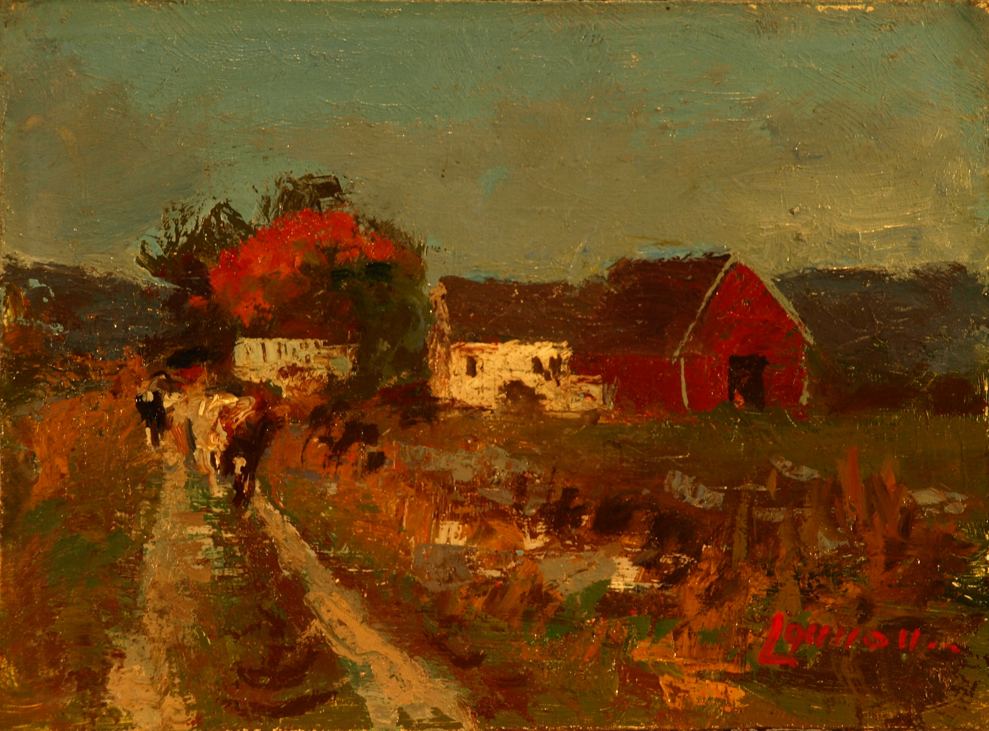 Going to Pasture, Oil on Panel, 6 x 8 Inches, by Bernard Lennon, $175
