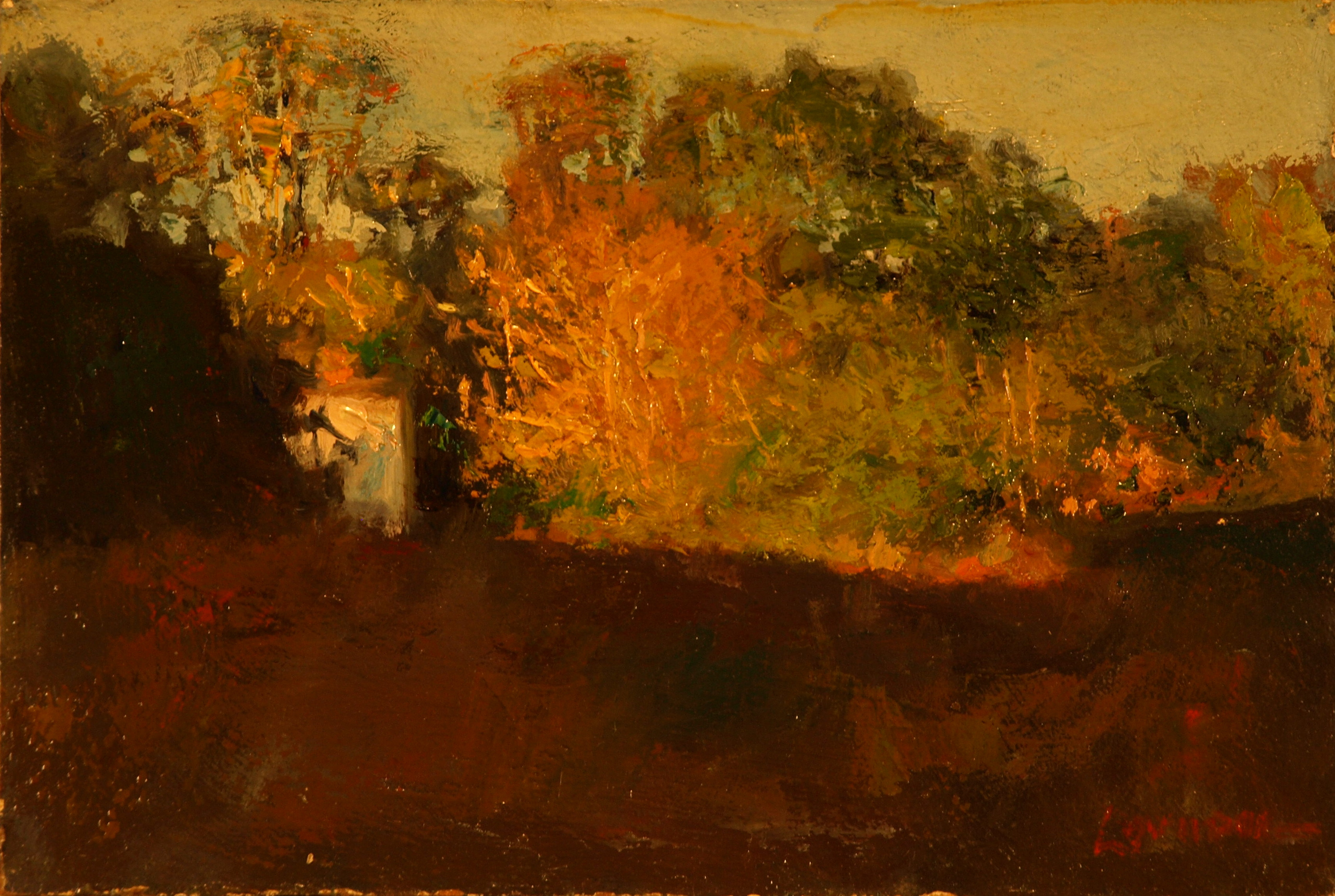 House in Autumn Sunset, Oil on Panel, 8 x 12 Inches, by Bernard Lennon, $400