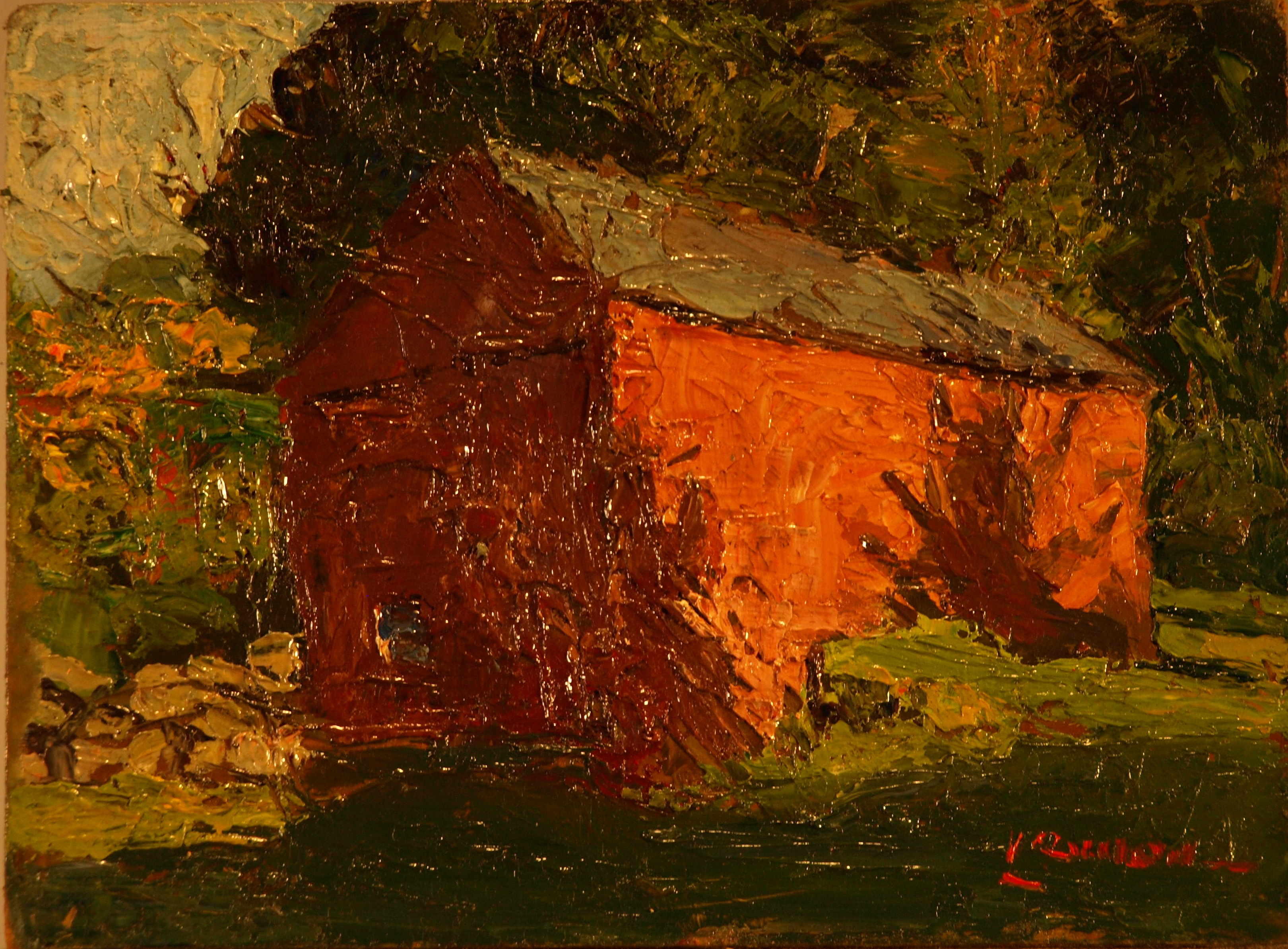 Lane's Barn, Oil on Panel, 6 x 8 Inches, by Bernard Lennon, $175