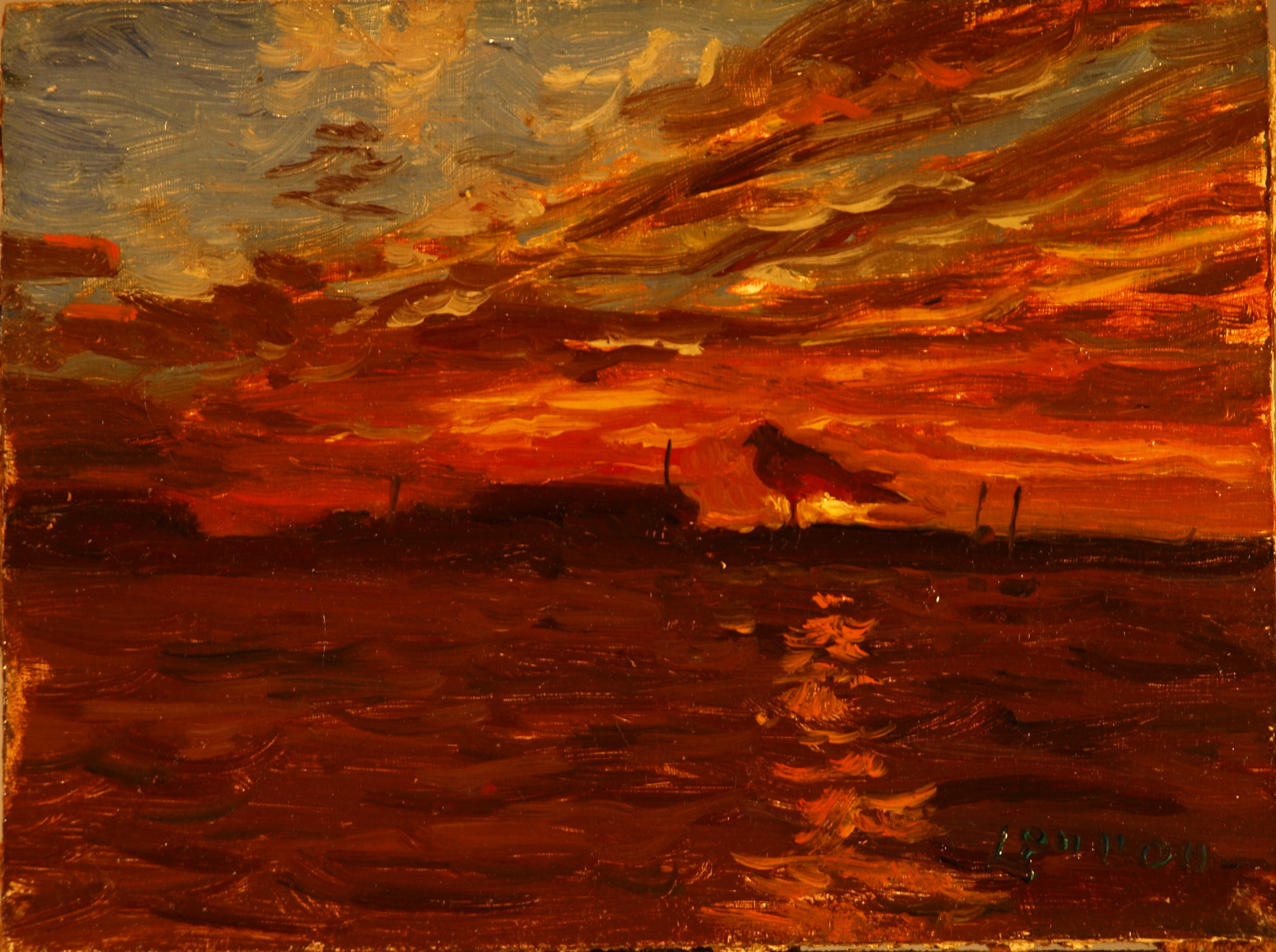 Provincetown Sunset, Oil on Panel, 6 x 8 Inches, by Bernard Lennon, $175