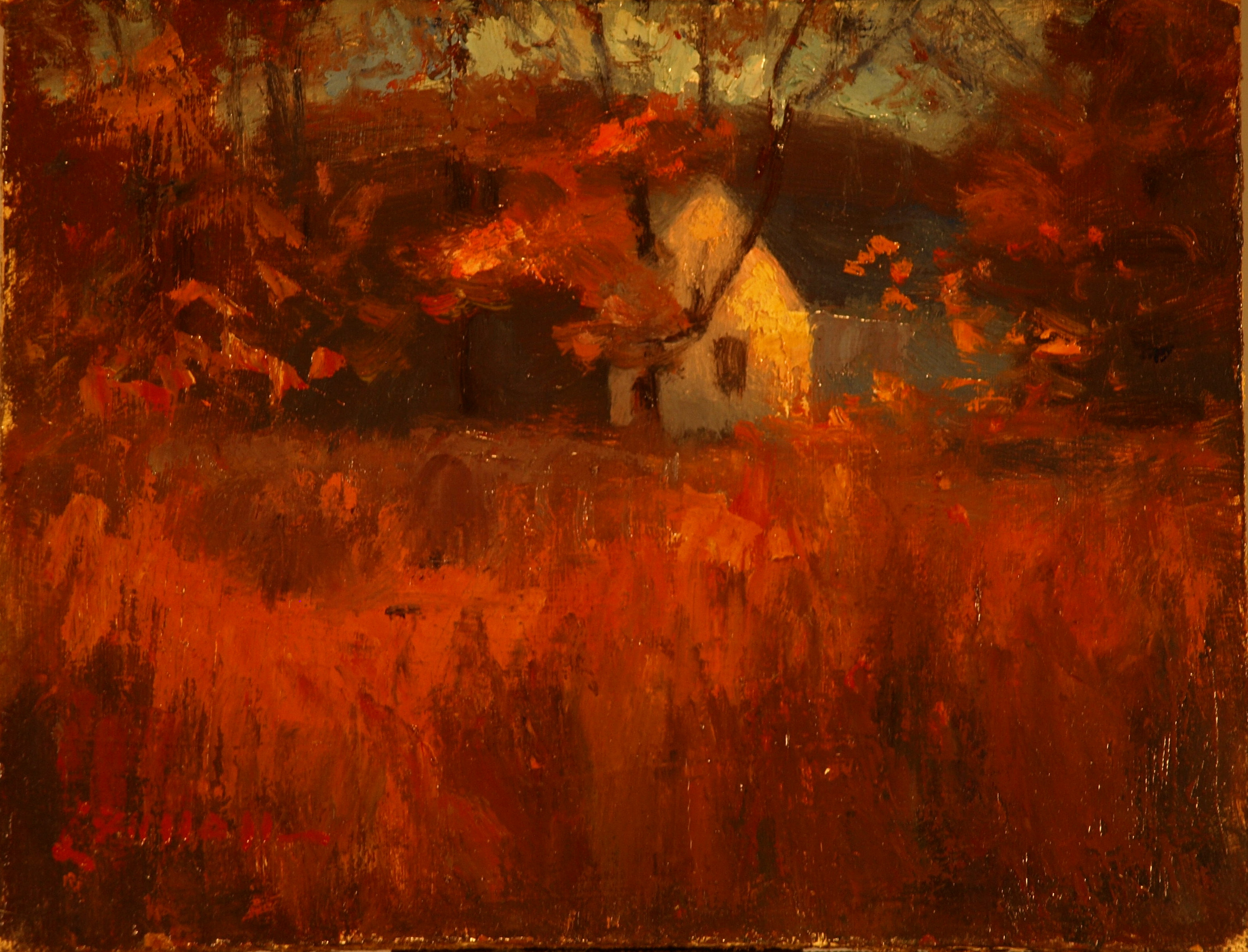 Red Grasses, Oil on Panel, 6 x 8 Inches, by Bernard Lennon, $125