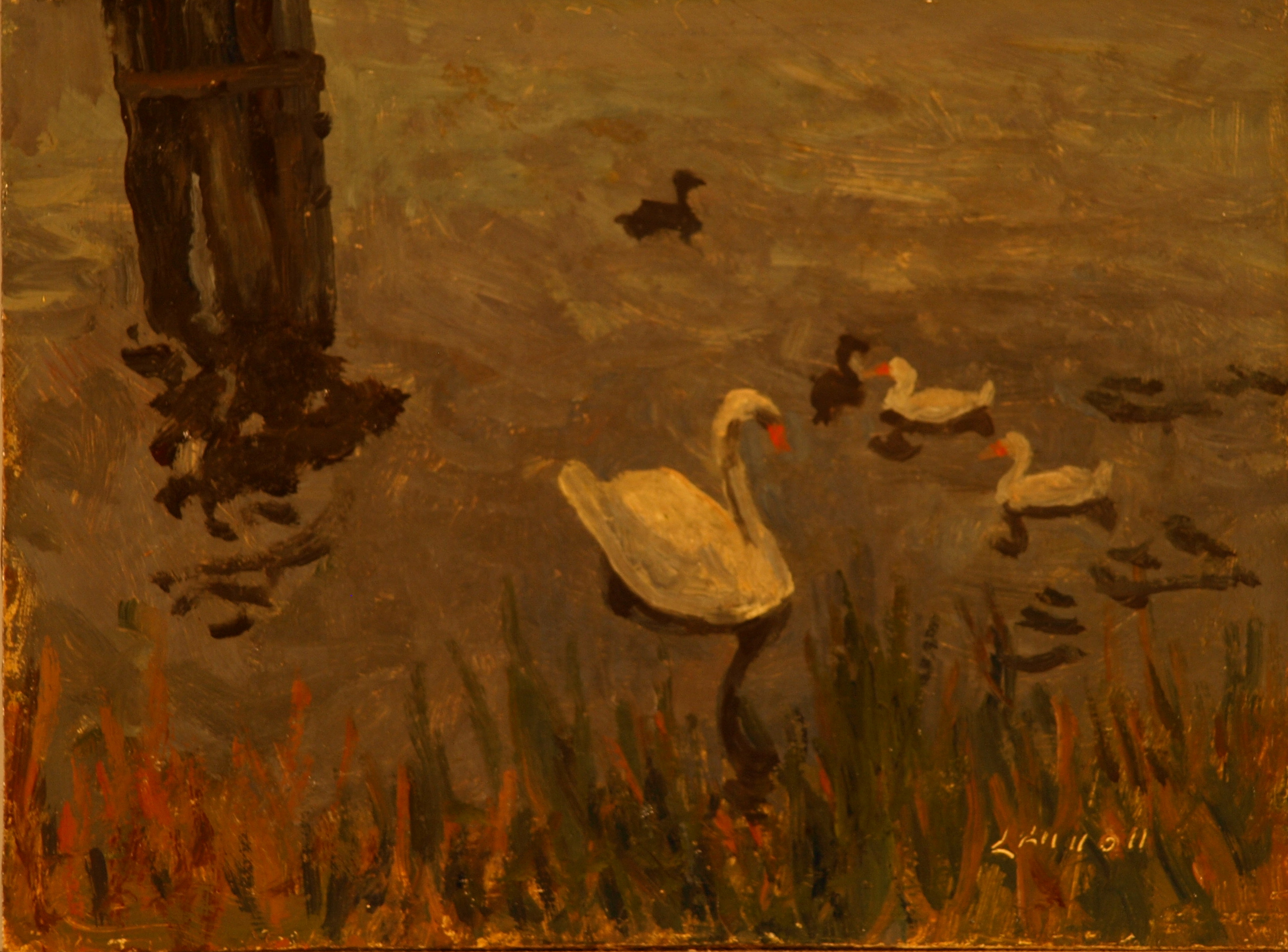 Swan and Ducks, Oil on Panel, 6 x 8 Inches, by Bernard Lennon, $175