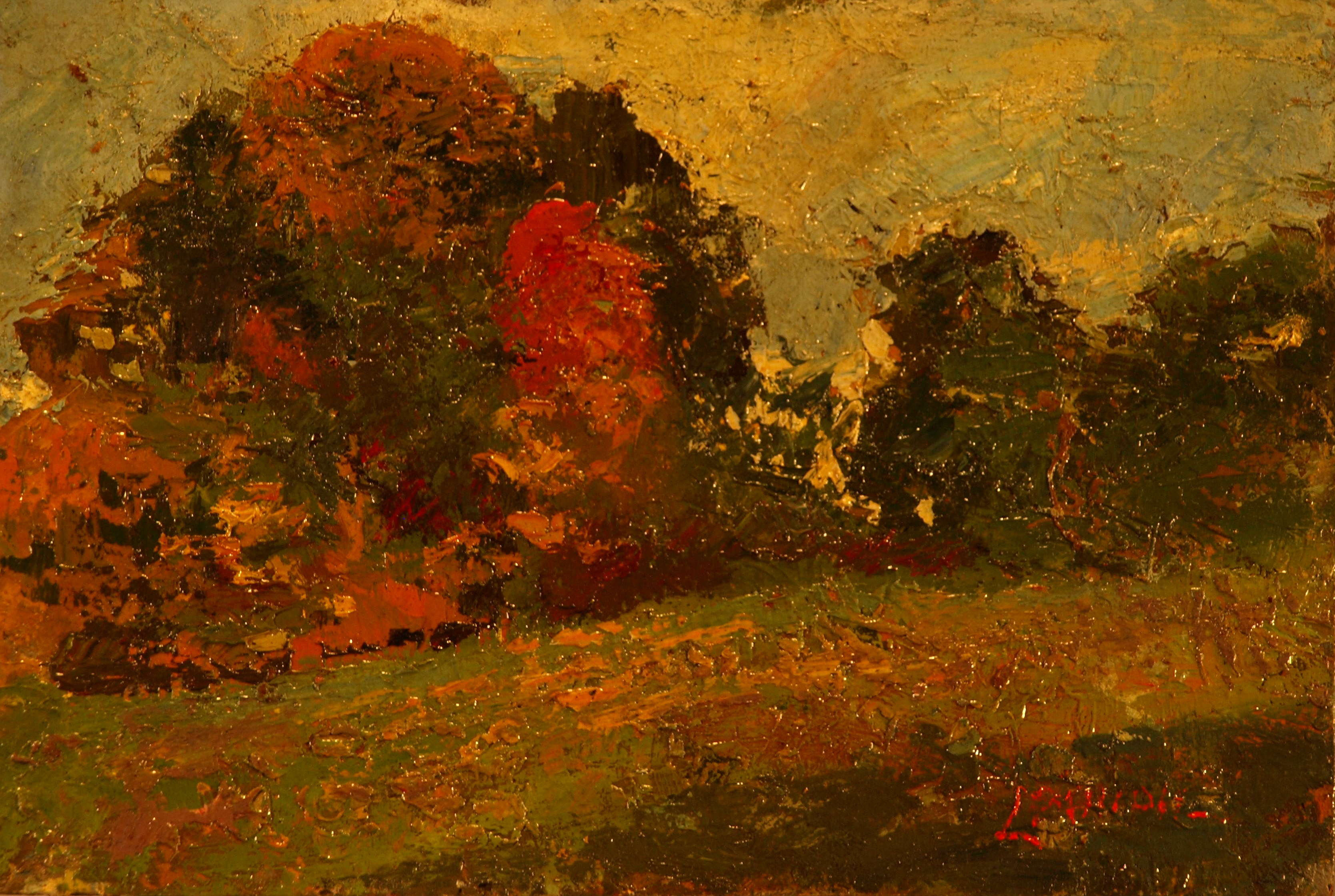 The Red Tree, Oil on Panel, 8 x 12 Inches, by Bernard Lennon, $300