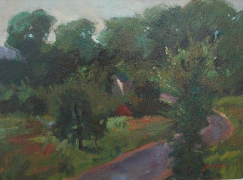 Bend in the Road, Oil on Panel, 18 x 28 Inches, by Bernard Lennon, $300