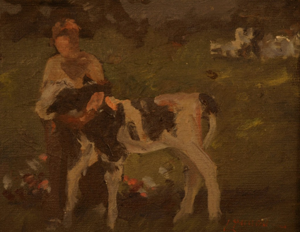 Boy with Calf, Oil on Panel, 8 x 10 Inches, by Bernard Lennon, $1500