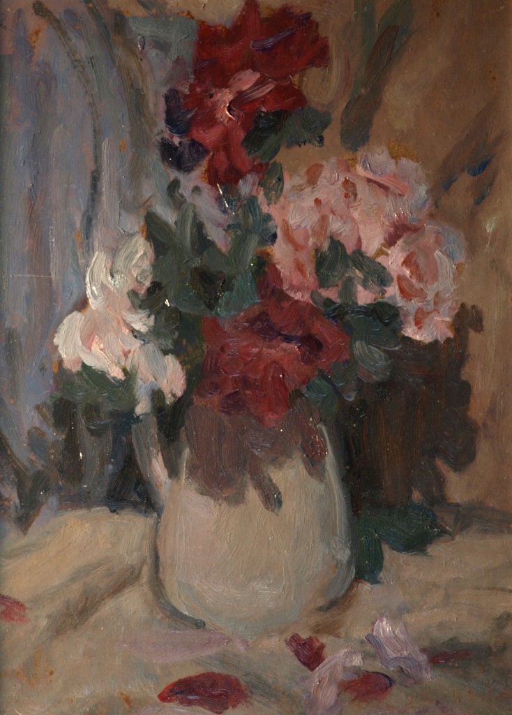 Dahlias, Oil on Panel, 16 x 12 Inches, by Bernard Lennon, $300