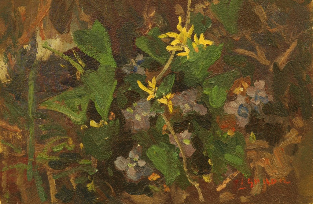 Flowering Vine, Oil on Panel, 8 x 12 Inches, by Bernard Lennon, $200