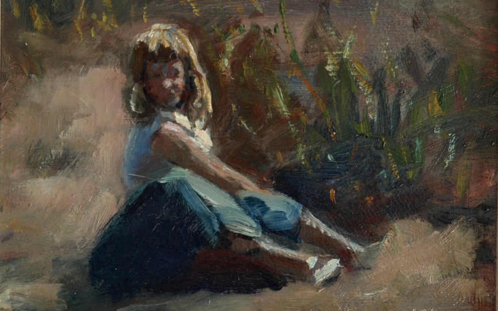 Girl at the Beach, Oil on Panel, 8 x 12 Inches, by Bernard Lennon, $225
