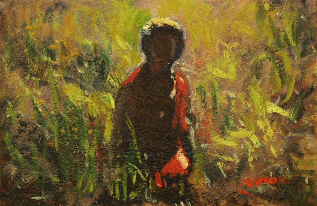 Ruth in the Grass, Oil on Panel, 8 x 12 Inches, by Bernard Lennon, $200