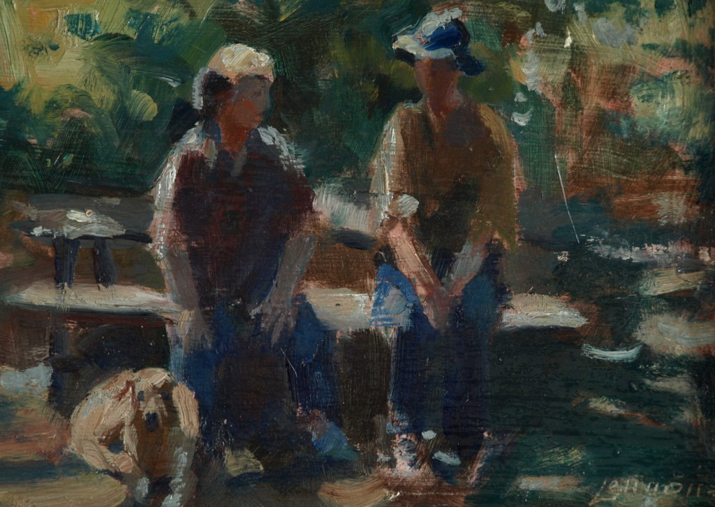 Ruth Sue and Utie, Oil on Panel, 8 x 12 Inches, by Bernard Lennon, $225