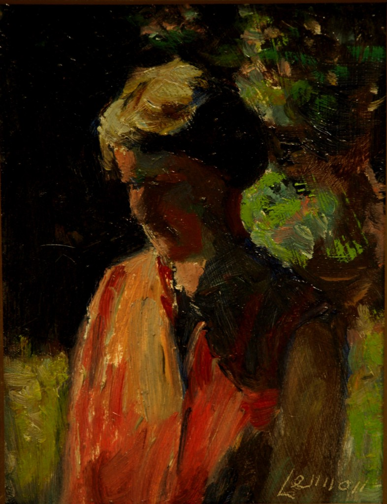 Ruth in Bright Sunlight, Oil on Panel, 8 x 6 Inches, by Bernard Lennon, $175