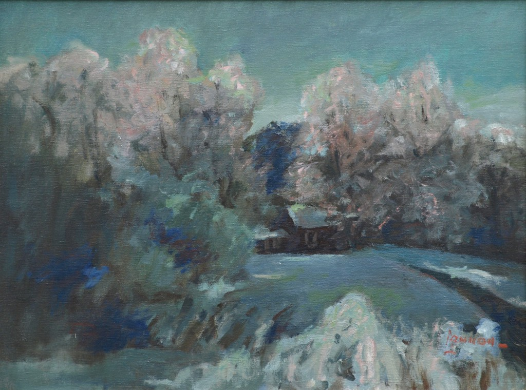 Snowbound (Artist's House), Oil on Canvas, 18 x 24 Inches, by Bernard Lennon, $850