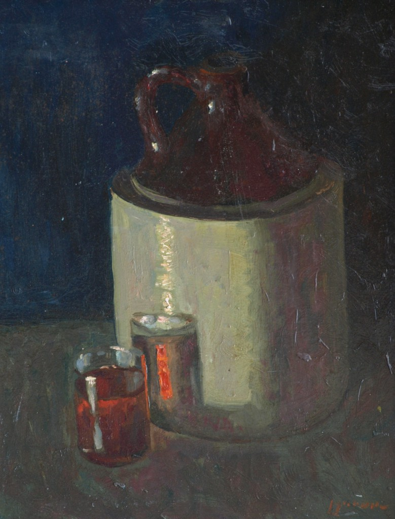 Still Life with Jug, Oil on Panel, 18 x 14 Inches, by Bernard Lennon, $350