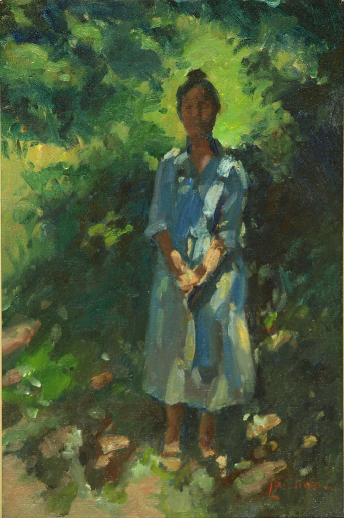 Sue in White, Oil on Canvas, 24 x 16 Inches, by Bernard Lennon, $675
