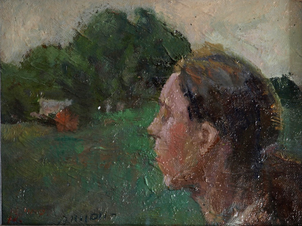 Sue Viewing a Landscape, Oil on Panel, 6 x 8 Inches, by Bernard Lennon, $175