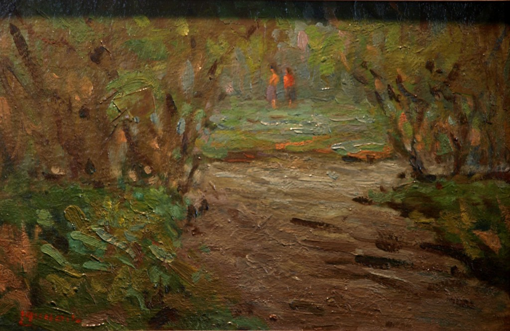 Summertime Sojourn, Oil on Panel, 9 x 14 Inches, by Bernard Lennon, $225
